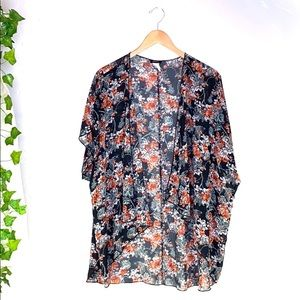 Poetry Black Roses Sheer Open Front Cardigan OS